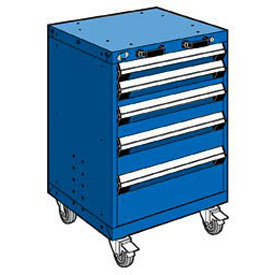 "Rousseau Metal 5 Drawer Heavy-Duty Mobile Modular Drawer Cabinet - 24""Wx21""Dx35-1/4""H Avalanche Blue"