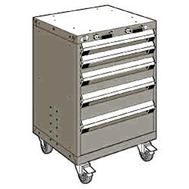 "Rousseau Metal 5 Drawer Heavy-Duty Mobile Modular Drawer Cabinet - 24""Wx21""Dx35-1/4""H Light Gray"