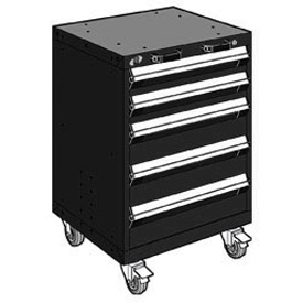 "Rousseau Metal 5 Drawer Heavy-Duty Mobile Modular Drawer Cabinet - 24""Wx21""Dx35-1/4""H Black"