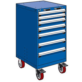 "Rousseau Metal 7 Drawer Heavy-Duty Mobile Modular Drawer Cabinet - 24""Wx21""Dx45-1/2""H Avalanche Blue"