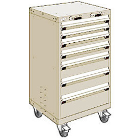 "Rousseau Metal 7 Drawer Heavy-Duty Mobile Modular Drawer Cabinet - 24""Wx21""Dx43-1/4""H Beige"