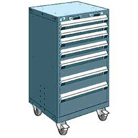 "Rousseau Metal 7 Drawer Heavy-Duty Mobile Modular Drawer Cabinet - 24""Wx21""Dx43-1/4""H Everest Blue"