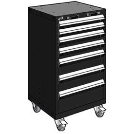 "Rousseau Metal 7 Drawer Heavy-Duty Mobile Modular Drawer Cabinet - 24""Wx21""Dx43-1/4""H Black"