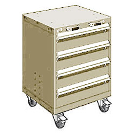 "Rousseau Metal 4 Drawer Heavy-Duty Mobile Modular Drawer Cabinet - 24""Wx27""Dx33-1/4""H Beige"