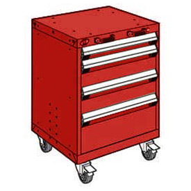 "Rousseau Metal 4 Drawer Heavy-Duty Mobile Modular Drawer Cabinet - 24""Wx27""Dx33-1/4""H Red"
