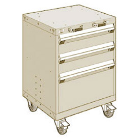 "Rousseau Metal 3 Drawer Heavy-Duty Mobile Modular Drawer Cabinet - 24""Wx27""Dx33-1/4""H Beige"
