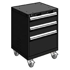 "Rousseau Metal 3 Drawer Heavy-Duty Mobile Modular Drawer Cabinet - 24""Wx27""Dx33-1/4""H Black"