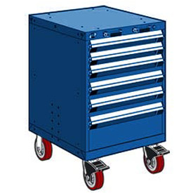"Rousseau Metal 6 Drawer Heavy-Duty Mobile Modular Drawer Cabinet - 24""Wx27""Dx37-1/2""H Avalanche Blue"