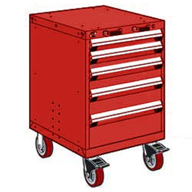 "Rousseau Metal 5 Drawer Heavy-Duty Mobile Modular Drawer Cabinet - 24""Wx27""Dx37-1/2""H Red"