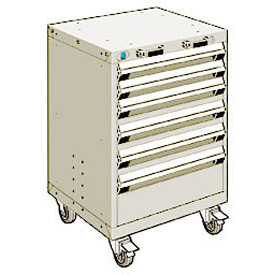 "Rousseau Metal 6 Drawer Heavy-Duty Mobile Modular Drawer Cabinet - 24""Wx27""Dx35-1/4""H Beige"