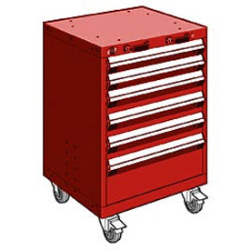 "Rousseau Metal 6 Drawer Heavy-Duty Mobile Modular Drawer Cabinet - 24""Wx27""Dx35-1/4""H Red"