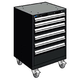 "Rousseau Metal 6 Drawer Heavy-Duty Mobile Modular Drawer Cabinet - 24""Wx27""Dx35-1/4""H Black"
