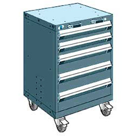 "Rousseau Metal 5 Drawer Heavy-Duty Mobile Modular Drawer Cabinet - 24""Wx27""Dx35-1/4""H Everest Blue"