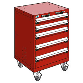 "Rousseau Metal 5 Drawer Heavy-Duty Mobile Modular Drawer Cabinet - 24""Wx27""Dx35-1/4""H Red"