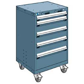 "Rousseau Metal 5 Drawer Heavy-Duty Mobile Modular Drawer Cabinet - 24""Wx27""Dx39-1/4""H Everest Blue"