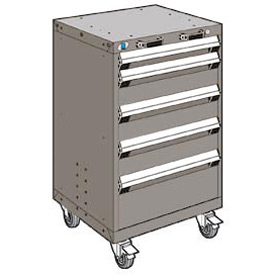 "Rousseau Metal 5 Drawer Heavy-Duty Mobile Modular Drawer Cabinet - 24""Wx27""Dx39-1/4""H Light Gray"
