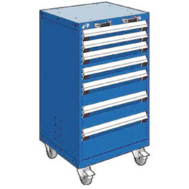 "Rousseau Metal 7 Drawer Heavy-Duty Mobile Modular Drawer Cabinet - 24""Wx27""Dx43-1/4""H Avalanche Blue"
