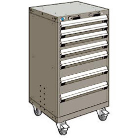 "Rousseau Metal 7 Drawer Heavy-Duty Mobile Modular Drawer Cabinet - 24""Wx27""Dx43-1/4""H Light Gray"
