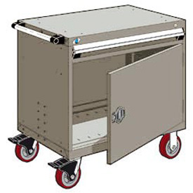 "Rousseau Metal 1 Drawer Heavy-Duty Mobile Modular Drawer Cabinet - 30""Wx21""Dx35-1/4""H Light Gray"