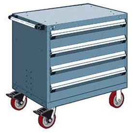 "Rousseau Metal 4 Drawer Heavy-Duty Mobile Modular Drawer Cabinet - 30""Wx21""Dx35-1/2""H Everest Blue"