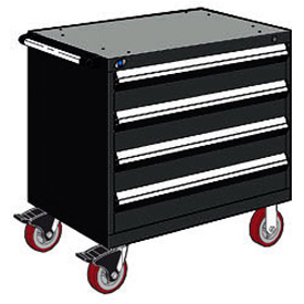 "Rousseau Metal 4 Drawer Heavy-Duty Mobile Modular Drawer Cabinet - 30""Wx21""Dx35-1/2""H Black"