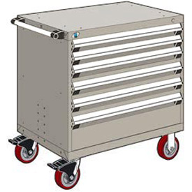 "Rousseau Metal 6 Drawer Heavy-Duty Mobile Modular Drawer Cabinet - 30""Wx21""Dx37-1/2""H Light Gray"