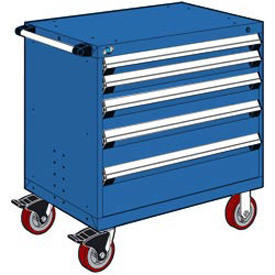 "Rousseau Metal 5 Drawer Heavy-Duty Mobile Modular Drawer Cabinet - 30""Wx21""Dx37-1/2""H Avalanche Blue"