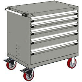 "Rousseau Metal 5 Drawer Heavy-Duty Mobile Modular Drawer Cabinet - 30""Wx21""Dx37-1/2""H Light Gray"
