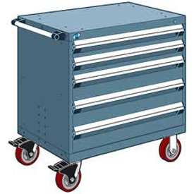 "Rousseau Metal 5 Drawer Heavy-Duty Mobile Modular Drawer Cabinet - 30""Wx21""Dx37-1/2""H Everest Blue"