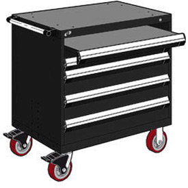 "Rousseau Metal 4 Drawer Heavy-Duty Mobile Modular Drawer Cabinet - 30""Wx21""Dx37-1/2""H Black"