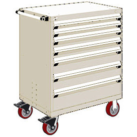 "Rousseau Metal 7 Drawer Heavy-Duty Mobile Modular Drawer Cabinet - 30""Wx21""Dx45-1/2""H Beige"