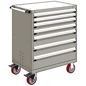 "Rousseau Metal 7 Drawer Heavy-Duty Mobile Modular Drawer Cabinet - 30""Wx21""Dx45-1/2""H Light Gray"