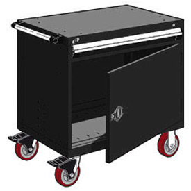 "Rousseau Metal 1 Drawer Heavy-Duty Mobile Modular Drawer Cabinet - 30""Wx27""Dx35-1/2""H Black"