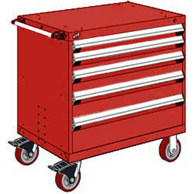"""Rousseau Metal 5 Drawer Heavy-Duty Mobile Modular Drawer Cabinet - 30""""Wx27""""Dx37-1/2""""H Red"""