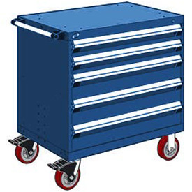 "Rousseau Metal 5 Drawer Heavy-Duty Mobile Modular Drawer Cabinet - 30""Wx27""Dx37-1/2""H Avalanche Blue"