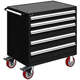 "Rousseau Metal 5 Drawer Heavy-Duty Mobile Modular Drawer Cabinet - 30""Wx27""Dx37-1/2""H Black"