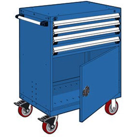 "Rousseau Metal 4 Drawer Heavy-Duty Mobile Modular Drawer Cabinet - 30""Wx27""Dx45-1/2""H Avalanche Blue"
