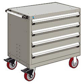 "Rousseau Metal 4 Drawer Heavy-Duty Mobile Modular Drawer Cabinet - 36""Wx18""Dx35-1/2""H Light Gray"