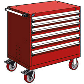 "Rousseau Metal 6 Drawer Heavy-Duty Mobile Modular Drawer Cabinet - 36""Wx18""Dx37-1/2""H Red"