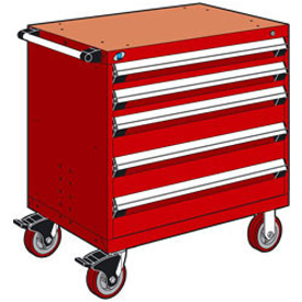 "Rousseau Metal 5 Drawer Heavy-Duty Mobile Modular Drawer Cabinet - 36""Wx18""Dx37-1/2""H Red"
