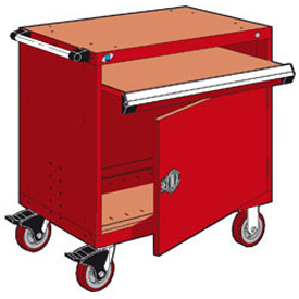 "Rousseau Metal Heavy-Duty Mobile Modular Drawer Cabinet - 36""Wx18""Dx37-1/2""H Red"