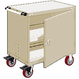 "Rousseau Metal Heavy-Duty Mobile Modular Drawer Cabinet - 36""Wx18""Dx37-1/2""H Beige"