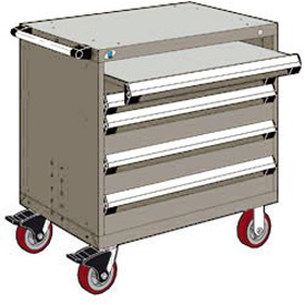 "Rousseau Metal 4 Drawer Heavy-Duty Mobile Modular Drawer Cabinet - 36""Wx18""Dx37-1/2""H Light Gray"
