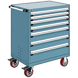 "Rousseau Metal 7 Drawer Heavy-Duty Mobile Modular Drawer Cabinet - 36""Wx18""Dx45-1/2""H Everest Blue"