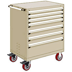 "Rousseau Metal 7 Drawer Heavy-Duty Mobile Modular Drawer Cabinet - 36""Wx18""Dx45-1/2""H Beige"