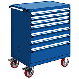 "Rousseau Metal 7 Drawer Heavy-Duty Mobile Modular Drawer Cabinet - 36""Wx18""Dx45-1/2""H Avalanche Blue"