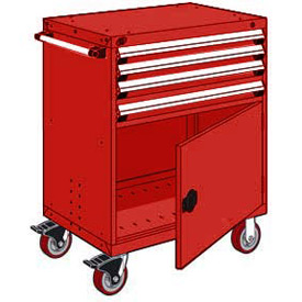 "Rousseau Metal 4 Drawer Heavy-Duty Mobile Modular Drawer Cabinet - 36""Wx18""Dx45-1/2""H Red"