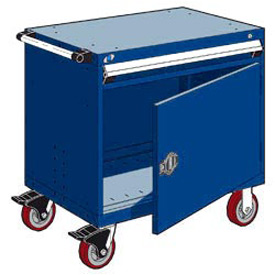 "Rousseau Metal 1 Drawer Heavy-Duty Mobile Modular Drawer Cabinet - 36""Wx24""Dx35-1/2""H Avalanche Blue"