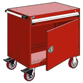 "Rousseau Metal 1 Drawer Heavy-Duty Mobile Modular Drawer Cabinet - 36""Wx24""Dx35-1/2""H Red"