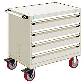 "Rousseau Metal 4 Drawer Heavy-Duty Mobile Modular Drawer Cabinet - 36""Wx24""Dx35-1/2""H Beige"